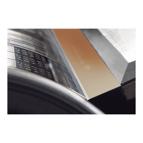 MDC Gold is a Doctor Blade product, produced by Daetwyler. The blade reduces defects in the entire print run and delivers precise ink metering.
